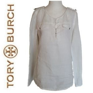 Tory Burch | White Linen Long Sleeve Sidney Blouse